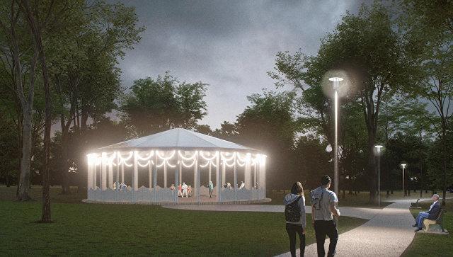 Беседка в парке «Вагоноремонт» на севере Москвы