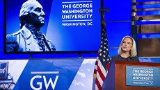 Министр национальной безопасности Кирстжин Нильсен во время выступления в Университете Джорджа Вашингтона в Вашингтоне. 5 сентября 2018