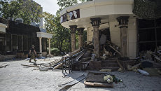 Здания кафе Сепар в Донецке, где произошел взрыв в результате которого погиб глава ДНР Александр Захарченко