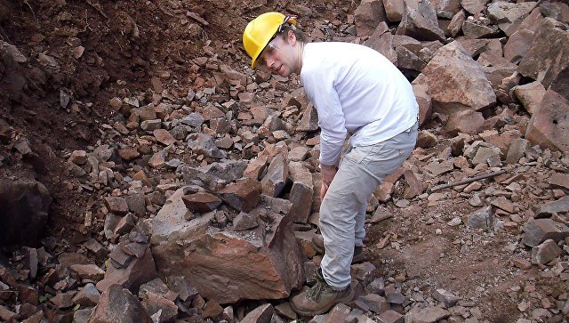 Сотрудник Плимутского университета во время геологических работ в карьере Ноул Хилл, Великобритания