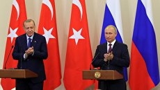 Президент РФ Владимир Путин и президент Турции Реджеп Тайип Эрдоган, архивное фото