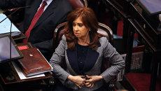 Бывший президент Аргентины и сенатор Кристина Киршнер на заседании сената в Буэнос-Айресе. 22 августа 2018