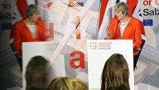 Премьер-министр Великобритании Тереза Мэй на пресс-конференции по итогам неформальной встречи глав стран-членов ЕС в Зальцбурге. 20 сентября 2018