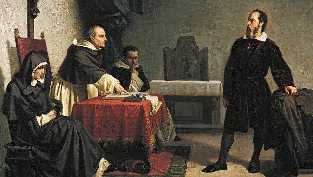 Галилей выступает перед Инквизицией, картина Кристиано Банти