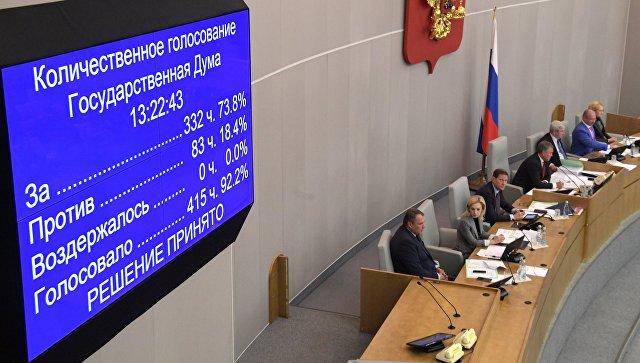 Табло с результатами голосования на пленарном заседании Государственной Думы РФ о принятии в третьем чтении законопроекта по пенсионному законодательству. 27 сентября