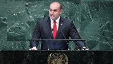 Премьер-министр Грузии Мамука Бахтадзе во время выступления на 73-й сессии Генеральной ассамблеи ООН