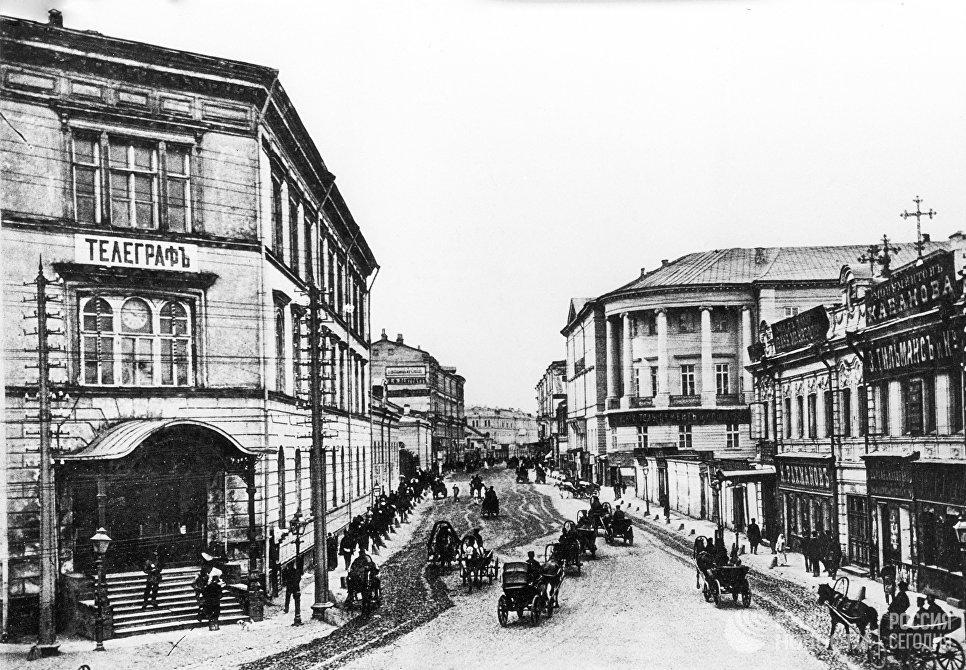 Гравюра Мясницкая улица от Почтамта. 1883 год. Репродукция