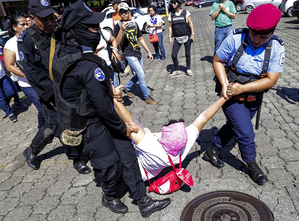 Задержание участников акции протеста в Манагуа