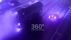 Поездка горящего автобуса по МКАД попала на видео