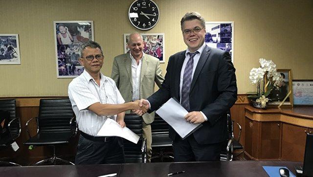 Церемония подписания соглашения о сотрудничестве между информационным агентством и радио Sputnik и таиландской газетой The Nation