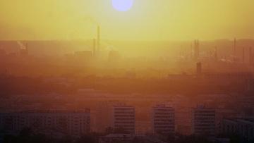 Смог над одним из городов в Кемеровской области