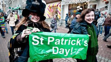 Шествие в честь Дня святого Патрика на Старом Арбате