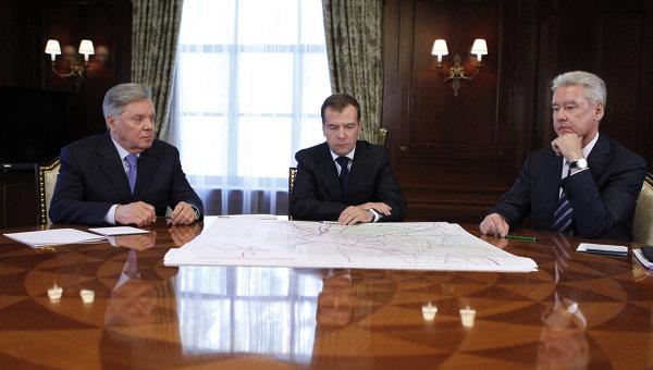 Президент РФ Д.Медведев встретился с губернатором Московской обл. Б.Громовым и мэром столицы С.Собяниным