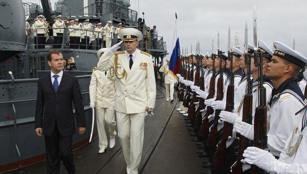 Президент РФ Д. Медведев посетил флагманский корабль Балтийского флота эсминец Настойчивый