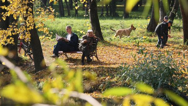 Москвичи отдыхают в парке