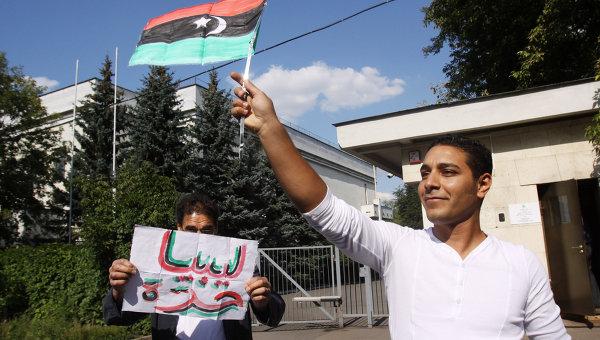 Посольство Ливии в Москве спустило официальный зелёный флаг Джамахирии