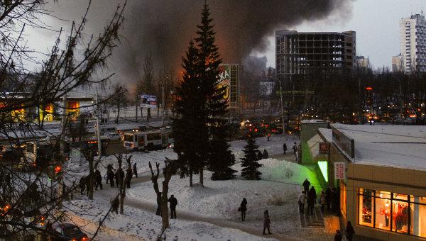 Пожар в пятиэтажном торгово-развлекательном центре Европа на проспекте Октября в Уфе