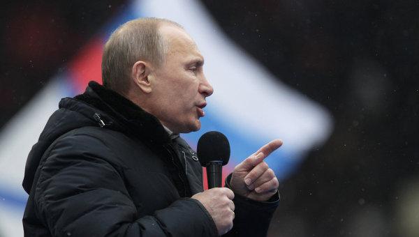Премьер-министр РФ В.Путин принял участие в митинге своих сторонников Защитим страну!