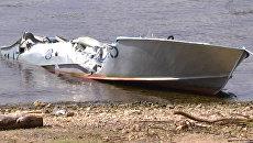 Последствия столкновения двух моторных лодок на Волге в Самаре