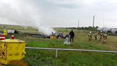 Вертолет Ми-2 выгорел полностью после экстренной посадки под Оренбургом