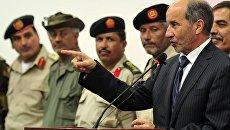 Глава Переходного национального совета (ПНС) Ливии Мустафа Абдельджалиль во время пресс-конференции в Бенгази