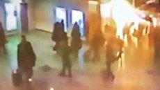 Момент взрыва в аэропорту Домодедово. Видео камер слежения