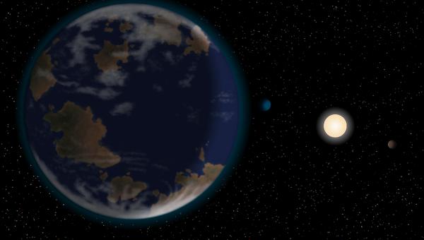 Потенциально обитаемая планета HD40307g и ее солнце глазами художника