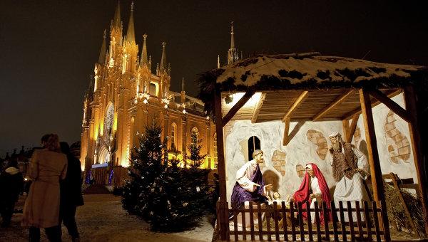 Рождественская месса в соборе Непорочного зачатия пресвятой девы Марии в Москве