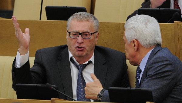 Лидер ЛДПР Владимир Жириновский и заместитель председателя Государственной Думы РФ Владимир Васильев