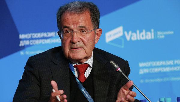 Бывший премьер-министр Италии Романо Проди на специальной секции Будущее Европы на заседании Международного дискуссионного клуба Валдай