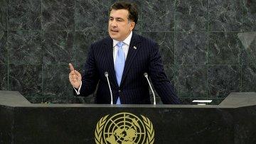 Михаил Саакашвили выступает на 68-й Генасамблее ООН. Фото с места события