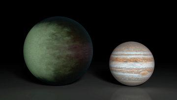 Планета Kepler-7b, на которой астрономы обнаружили облака (слева), по сравнению с Юпитером (справа)