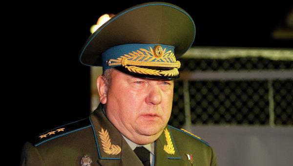 Командующий Воздушно-десантными войсками Владимир Шаманов на военном полигоне в Псковской области, где прогремел взрыв