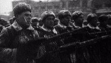 Военный парад на Красной площади в Москве 7 ноября 1941 года. Архивные кадры