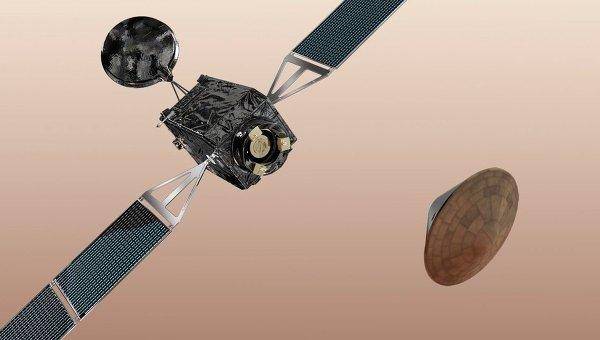 EDM Скиапарелли отделяется от Trace Gas Orbiter. Архивное фото