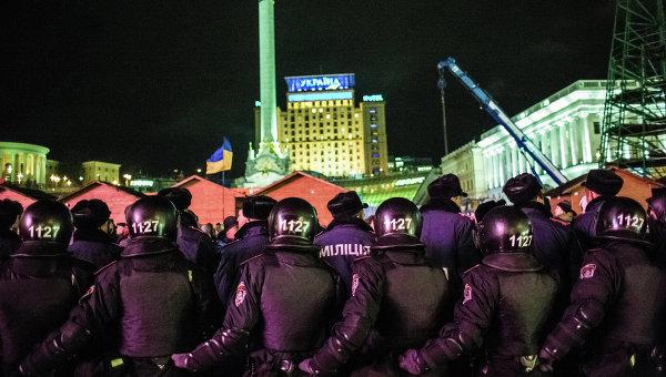 Спецподразделение Беркут на площади Независимости в Киеве. Фото с места события