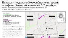 Перекрытие дорог в Новосибирске в дни эстафеты
