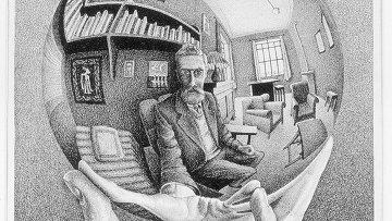 М.К.Эшер. Рука с зеркальной сферой. 1935.