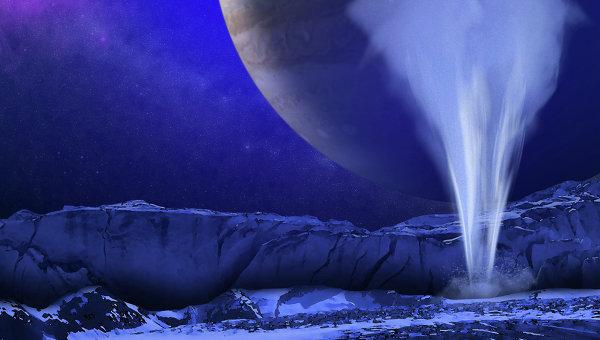 """Так художник представил себе фонтан воды, вырывающейся из-под ледяной """"шубы"""" Европы"""