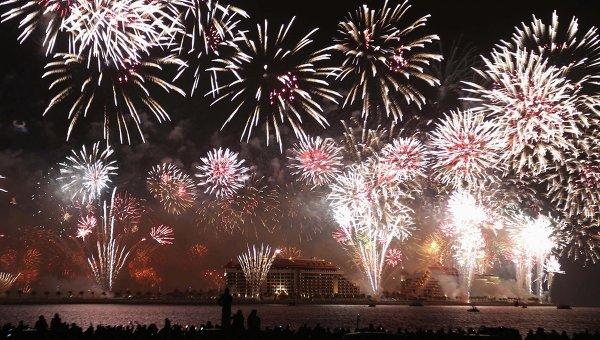Новогодний фейерверк в Дубае
