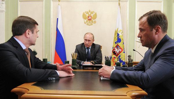 В.Путин провел рабочую встречу с О.Остапенко и И.Комаровым