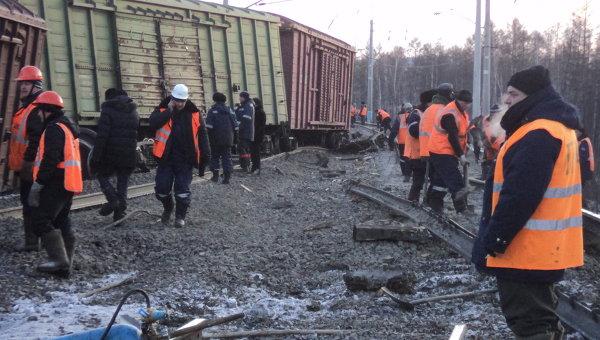 Сход вагонов в Забайкалье. Архивное фото