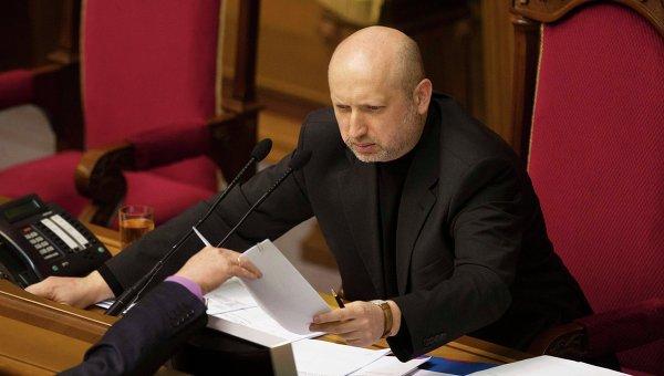 Александр Турчинов во время сессии парламента в Киеве