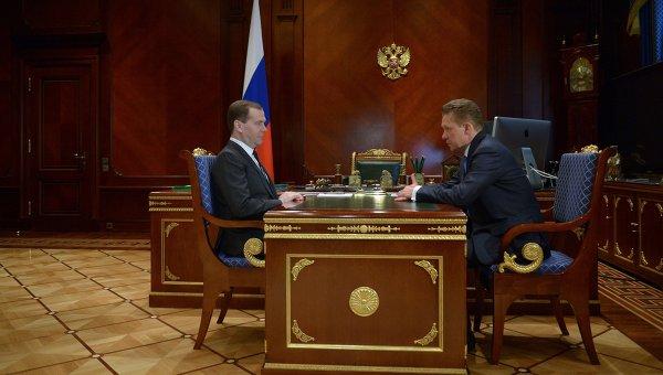 Дмитрий Медведев провел встречу с Алексеем Миллером. Фото с места события