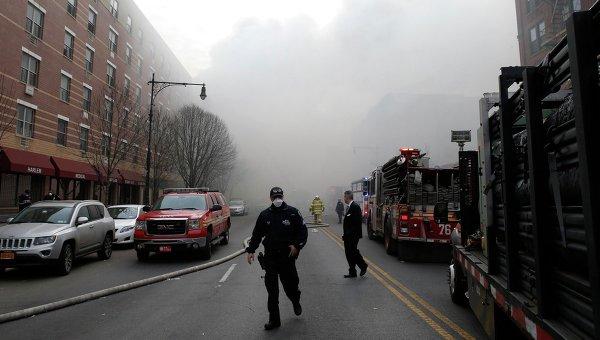 На месте взрыва здания в Нью-Йорке. Фото с места события