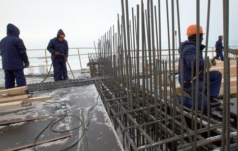 Строительство нового стадиона Зенит на Крестовском острове в Санкт-Петербурге