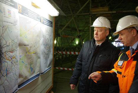 С. Собянин осмотрел ход строительства станции метро Новокосино