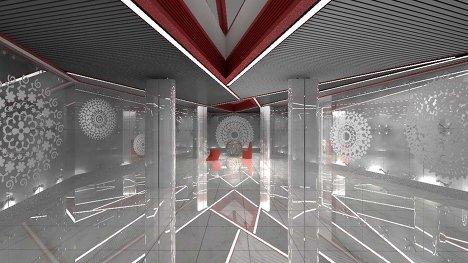 Зал для бракосочетаний в ЗАГСе в стеклянном эллипсоиде на Живописном мосту в Москве