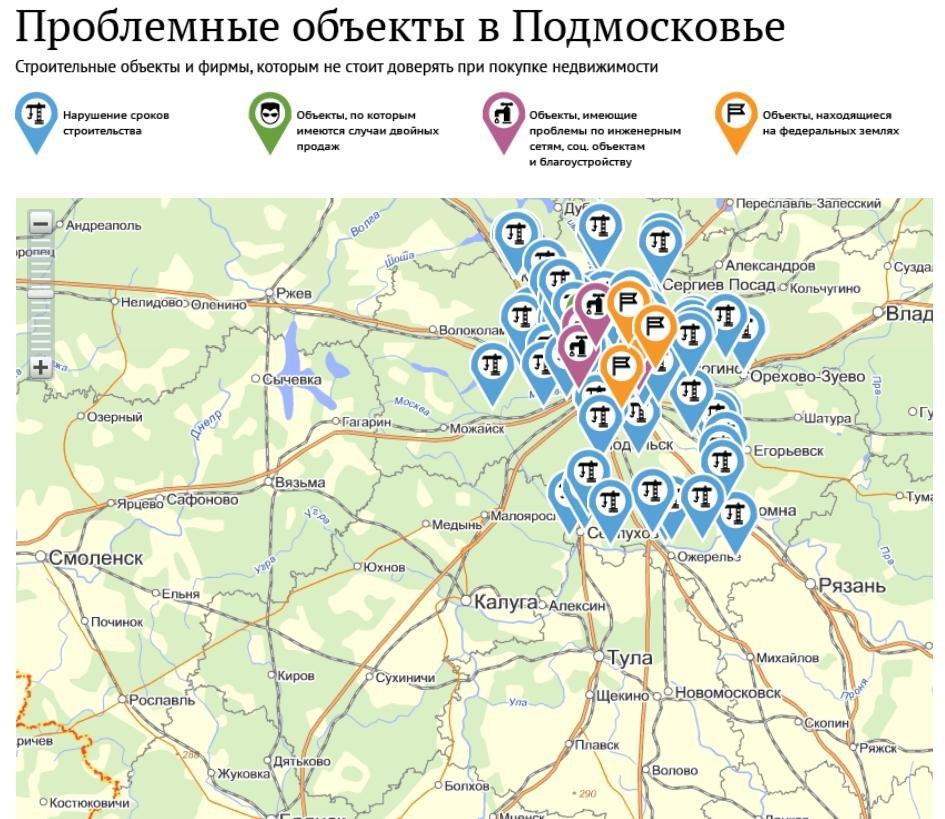 Проблемные жилые объекты в Подмосковье, Долгострои