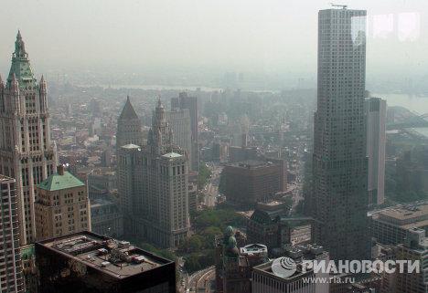 Вид из башни ВТЦ-4 Всемирного торгового центра в Нью-Йорке